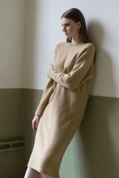 knitwear dress dinny beige
